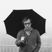 Woody Allen on his balcony, Manhattan, NY, 1979