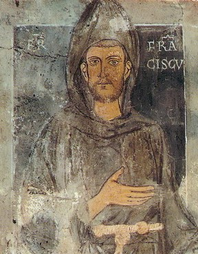 Св. Франциск, фреска в манастира Сакро Спеко