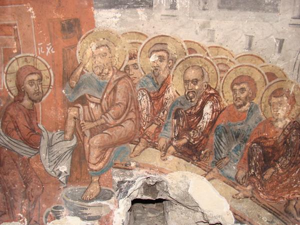 Умиване на нозете, Алински манастир, XVII в.