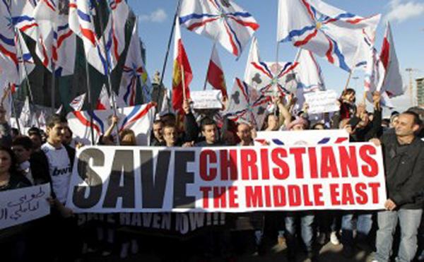 Assyrian Christians protest in Lebanon