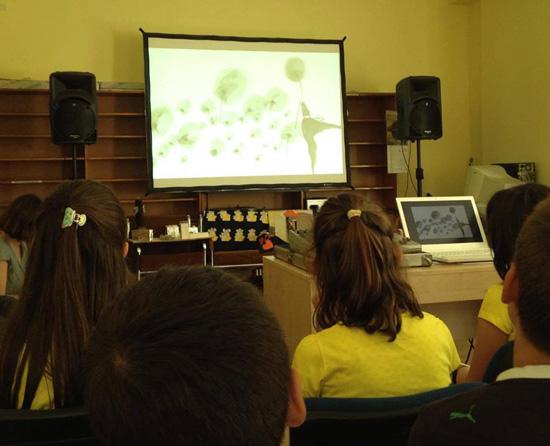 Прожекции на българско анимационно кино в столични училища, април 2016 г.